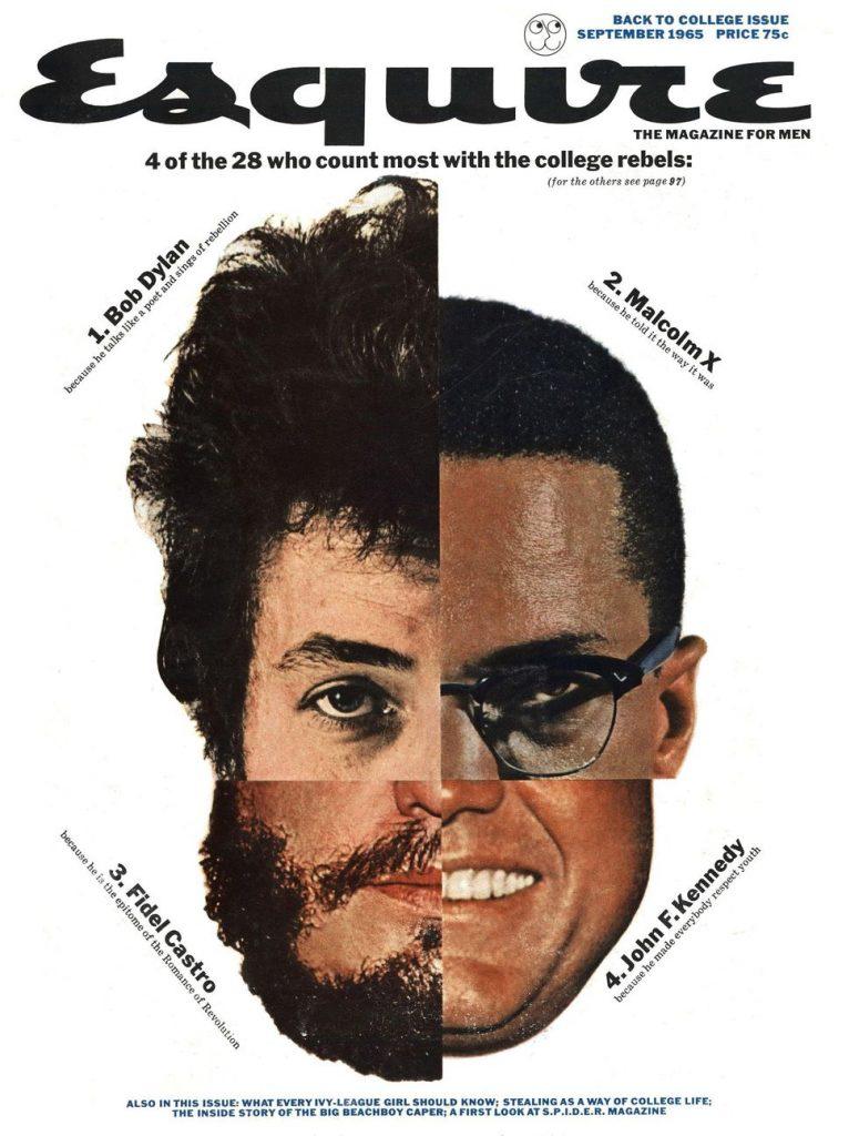 обложка Esquire US коллекция история сентябрь 1965 Боб Дилан Малкольм X фидель кастро Джон Кеннеди
