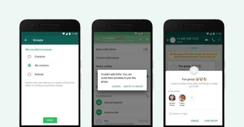 WhatsApp настройки конфиденциальности группы пользователи мессенджер сообщения