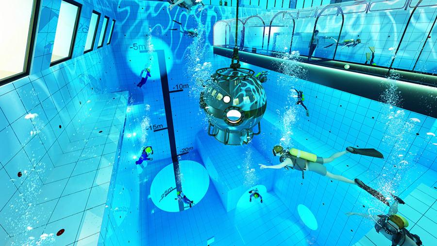 Польша бассейн подводный туннель аквалангисты вода плавание спорт