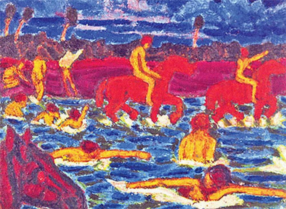 искусство красный кони вода Калмыков