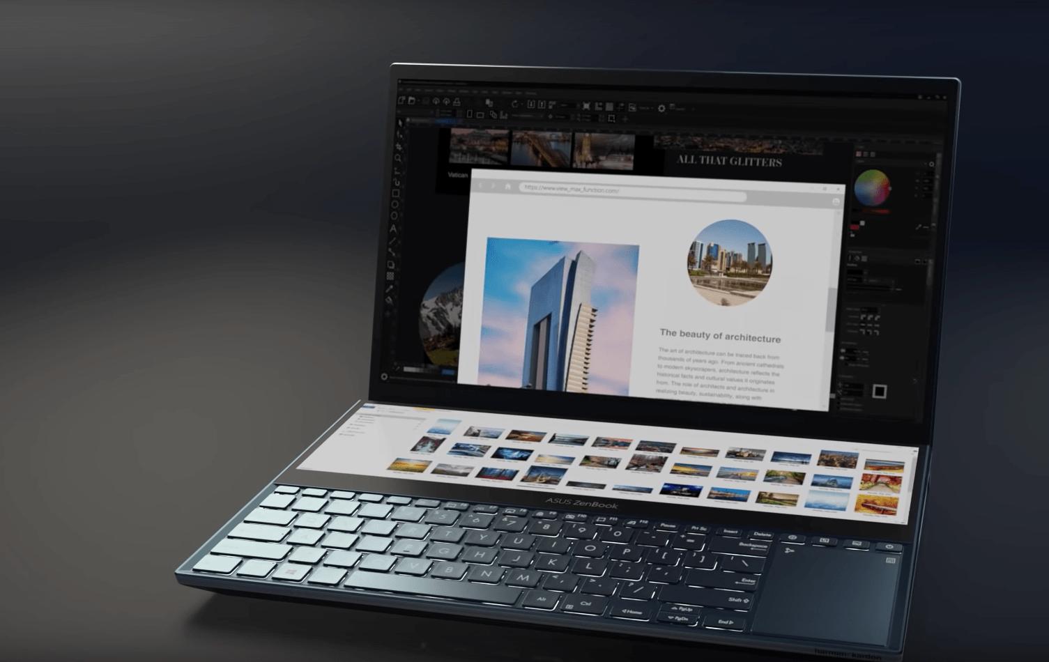 Asus представила ноутбук Zenbook Pro Duo с двумя 4К-экранами