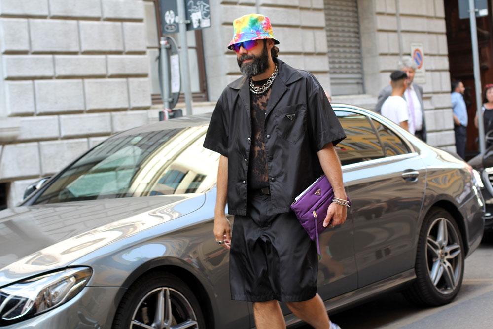 Неделя мужской моды в Милане третий день завершение Streetstyle