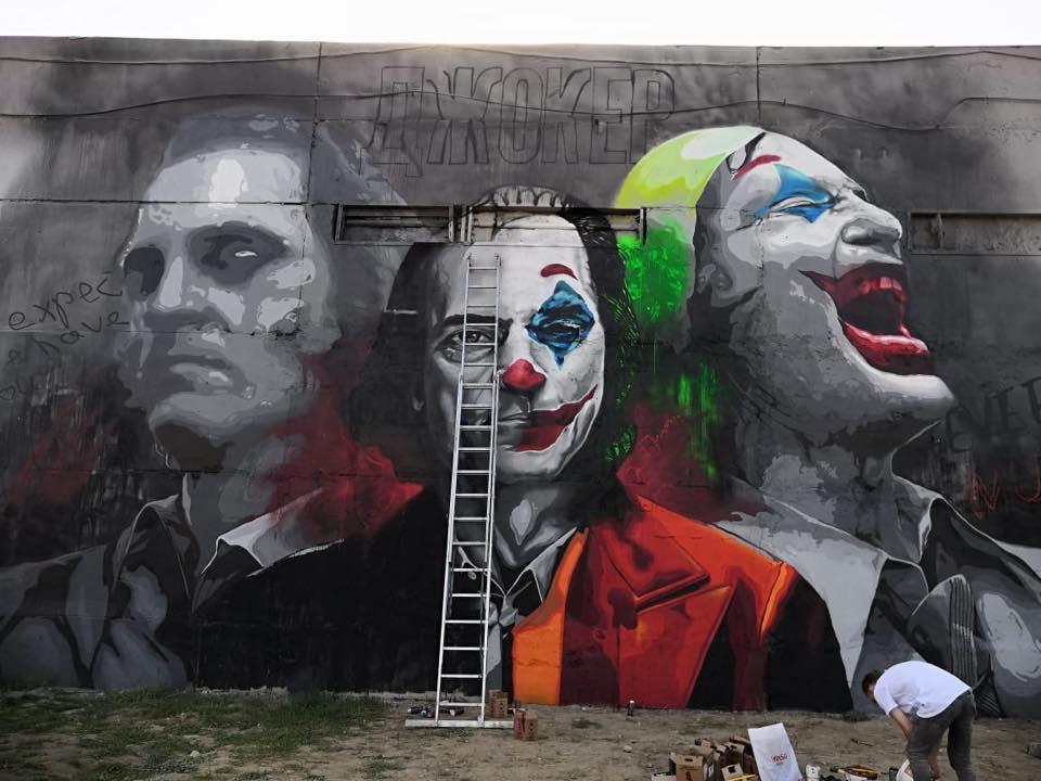 В Алматы появился мурал с изображением Джокера