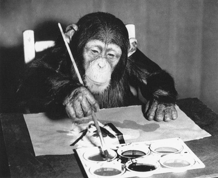 шимпанзе рисует