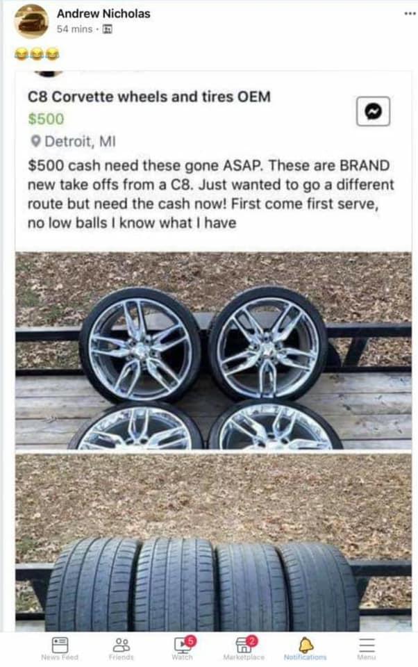 Похитители колес попались на объявлении об их продаже