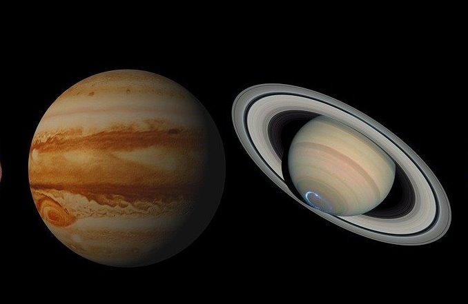 Космонавт показал фото слияния Юпитера и Сатурна с борта МКС