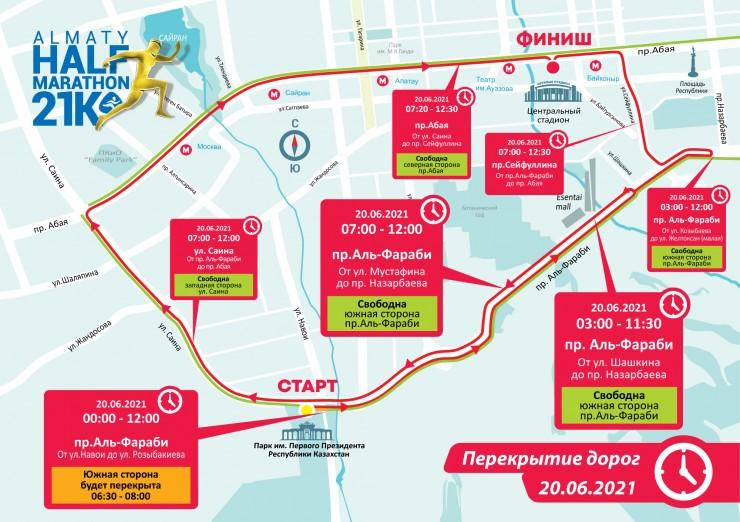 Какие улицы перекроют во время Алматинского полумарафона