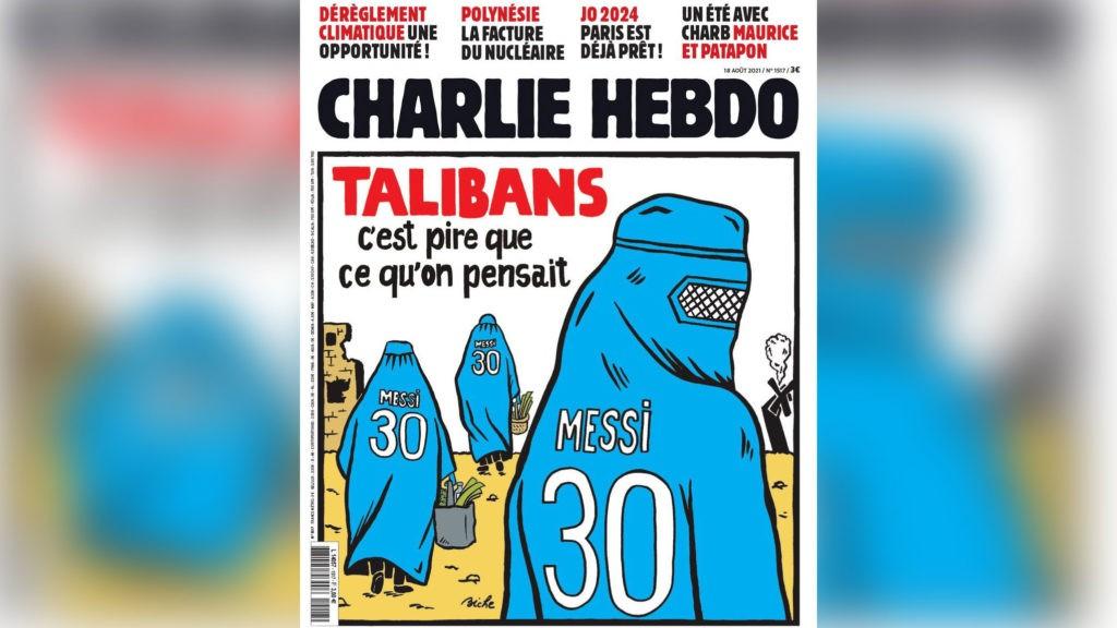 Журнал Charlie Hebdo выпустил обложку с карикатурой на Месси и талибов