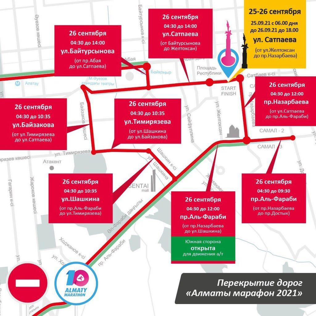 В ближайшее воскресенье в Алматы перекроют часть улиц